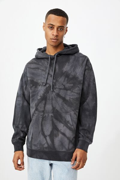 Drop Shoulder Pullover Fleece, NIGHT SWIRL TIE DYE