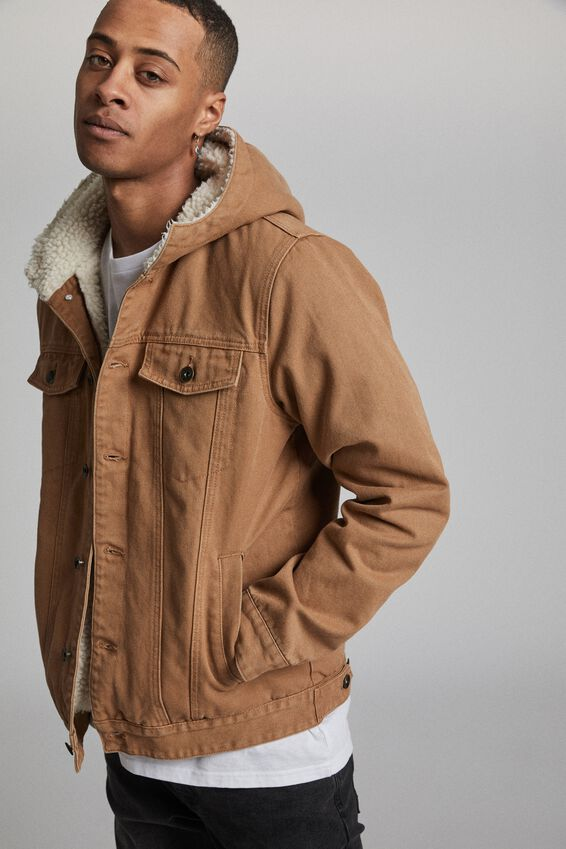Hooded Borg Jacket, TAN CANVAS