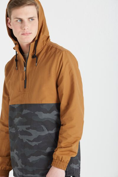 Panelled Kagoul Jacket, MUSTARD/CAMO