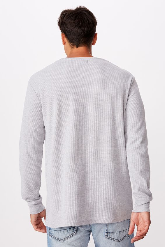 Waffle Long Sleeve T-Shirt, LIGHT GREY MARLE