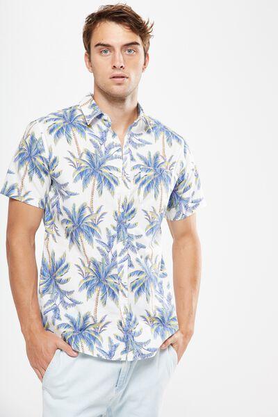 Vintage Prep Short Sleeve Shirt, LARGE PALM PRINT