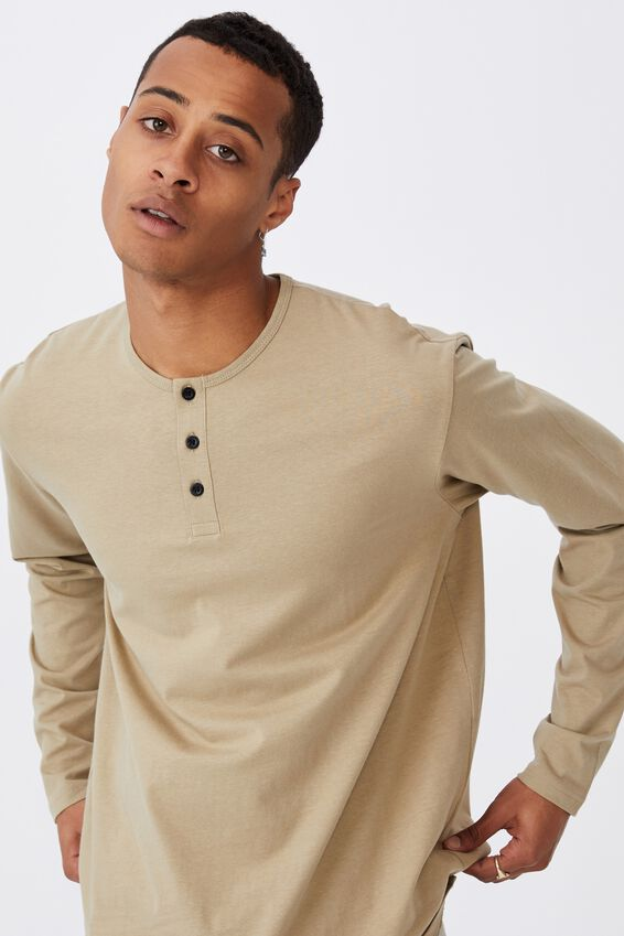 Longline Scoop Henley Long Sleeve T-Shirt, GRAVEL STONE