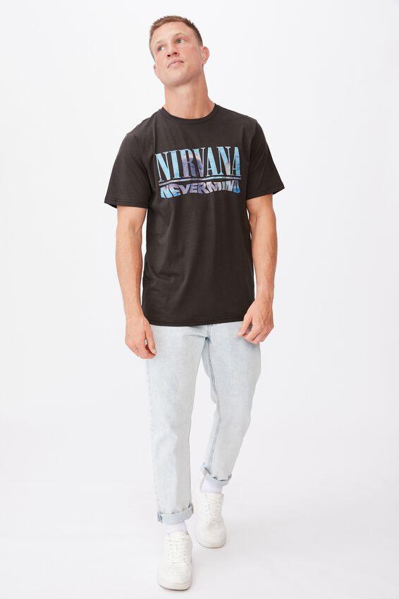 Tbar Collab Music T-Shirt, LCN LN WASHED BLACK/NIRVANA-NEVERMIND