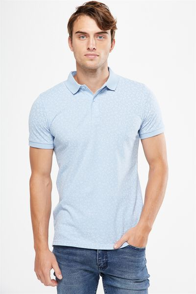 Icon Polo, MID BLUE DITSY FLORAL SLIM