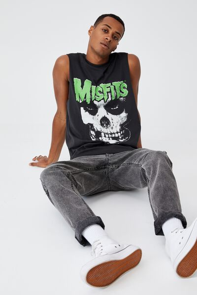 Tbar Collab Muscle, LCN MIS WASHED BLACK/MISFITS-FIEND
