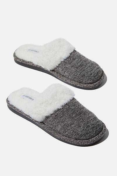 Lachlan Slippers, BLACK/WHITE HERRINGBONE