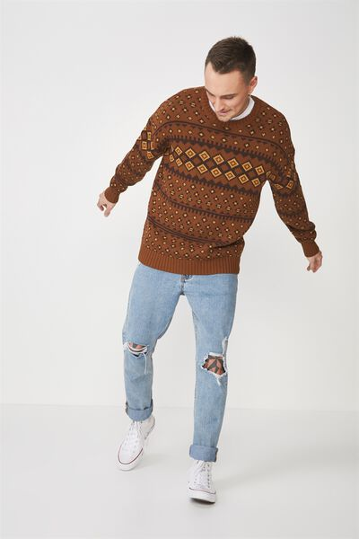 Oversized Crew Knit, BROWN FAIR ISLES