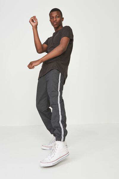 Drake Cuffed Pant, TEXTURED CHARCOAL PRINT & SIDE STRIPE
