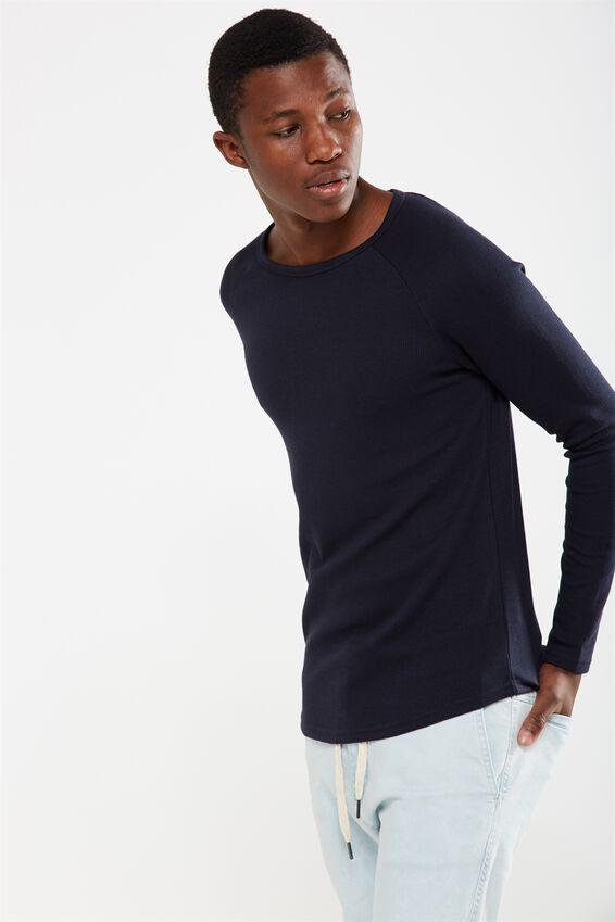 Waffle Long Sleeve T-Shirt, TRUE NAVY