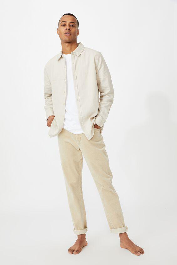 Linen Cotton Long Sleeve Shirt, OATMEAL