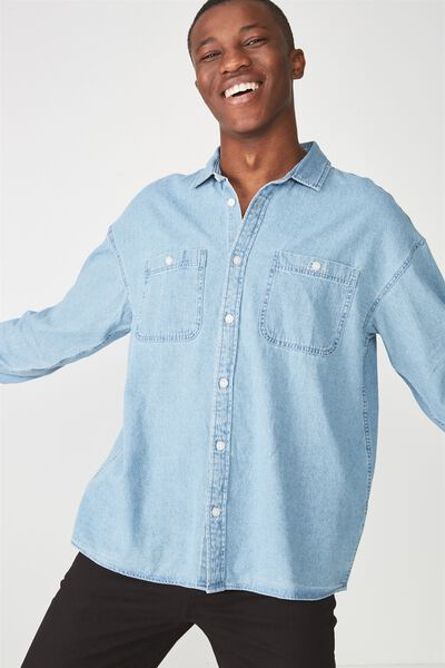 Long Sleeve Workwear Shirt, LIGHT INDIGO DENIM