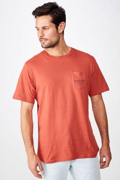 Tbar Moto T-Shirt, SK8 BRUSCHETTA RED/DETROIT IRON