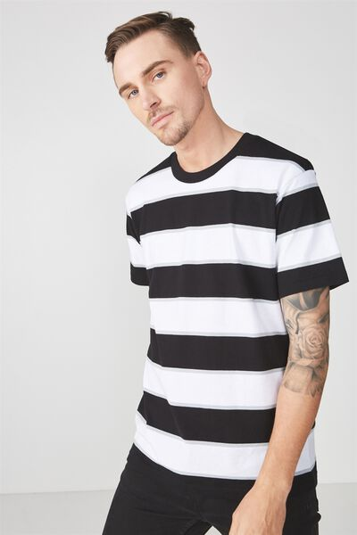 Downtown Loose Fit Tee, BLACK/WHITE/GREY BIG STRIPE