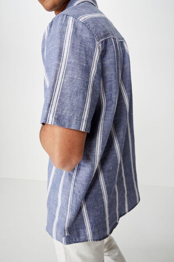 Premium Linen Cotton Short Sleeve Shirt, BLUE WHITE SPACE STRIPE