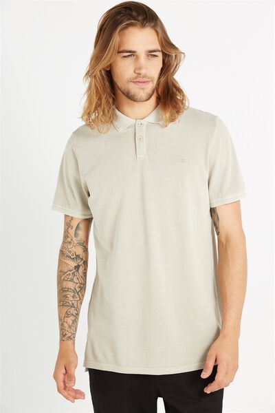 Short Sleeve Pigment Dyed Polo, NATURAL