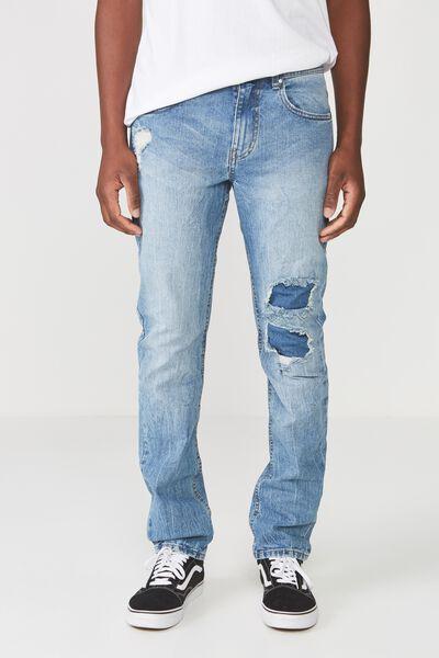 Slim Fit Jean, VINTAGE BLUE PATCHED