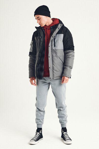 Premium Hooded Puffer Jacket, BLACK