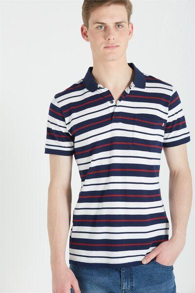 Short Sleeve Prep Polo Slim Fit, NAVY STRIPE