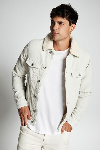 Borg Denim Jacket, ECRU CORD