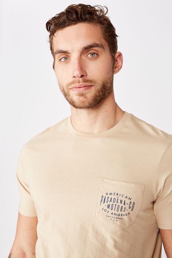 Tbar Text T-Shirt, CLAY STONE/PASADENA CO POCKET