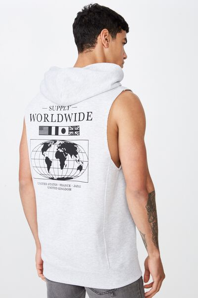 Sleeveless Hood, LIGHT GREY MARLE/SUPPLY WORLDWIDE