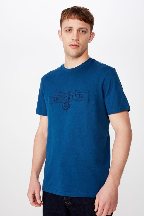 Tbar Text T-Shirt, CORAL BLUE/BROOKLYN US
