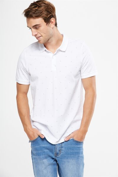 Icon Polo, WHITE PALM DITSY SLIM
