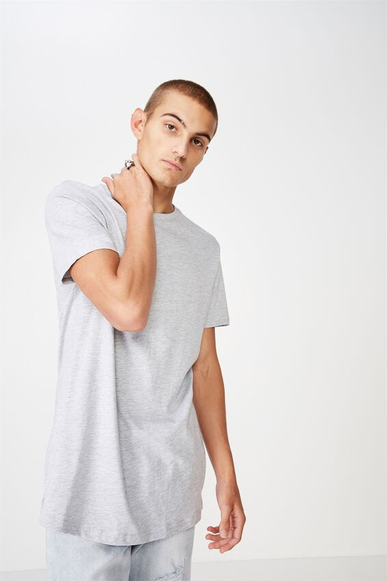 Essential Longline Scoop T-Shirt, LIGHT GREY MARLE