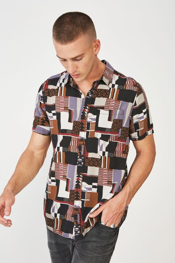 91 Short Sleeve Shirt, EARTHY BLOCKED TRIBAL