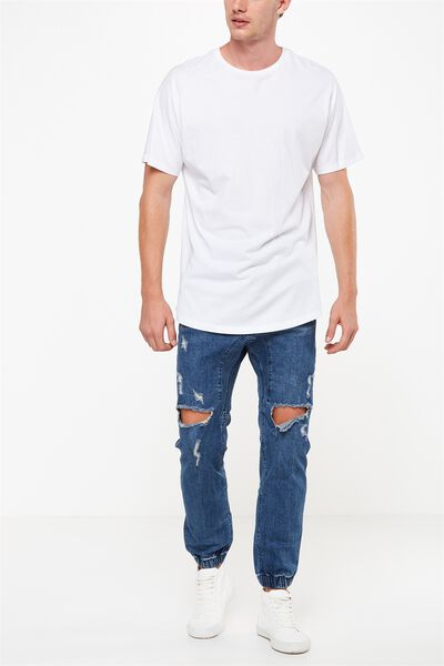 Slim Denim Jogger, BOWERY BLUE + RIPS