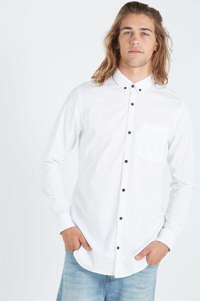 Ae Long Sleeve Longline Shirt, WHITE