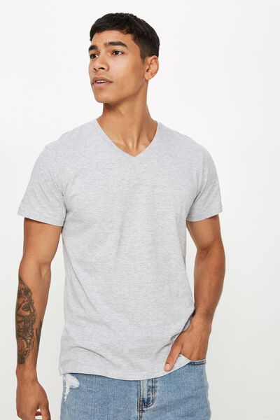 Essential Vee Neck, GREY MARLE