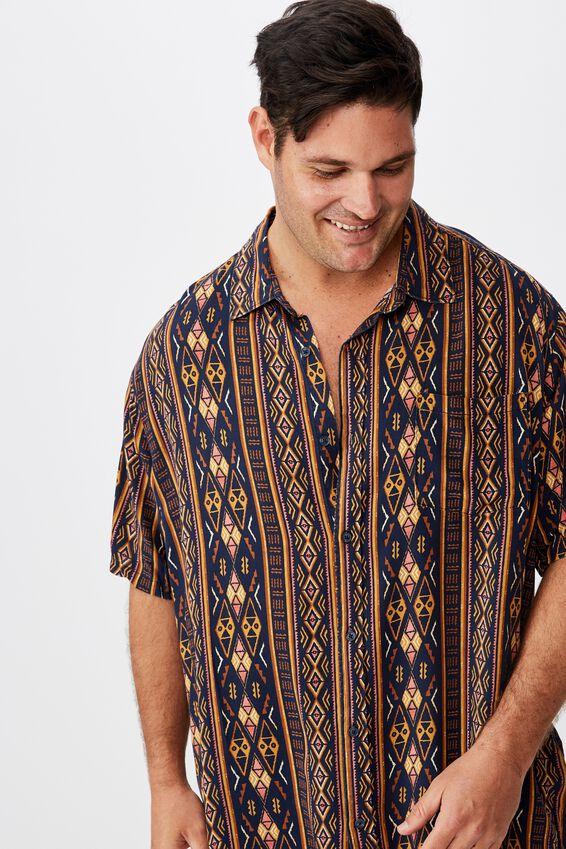 91 Short Sleeve Shirt, NAVY VERT TRIBAL