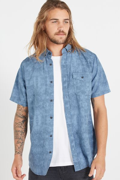 Easy Washed Short Sleeve Shirt, BLUE ACID TEXTURE