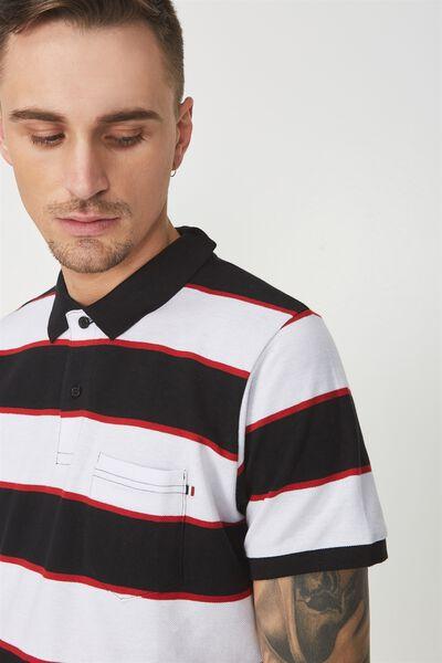 Icon Polo, BLACK WHITE RED STRIPE