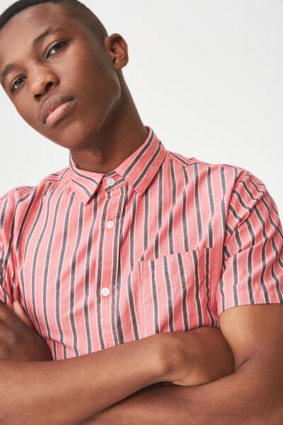 Vintage Prep Short Sleeve Shirt, RED BLACK STRIPE