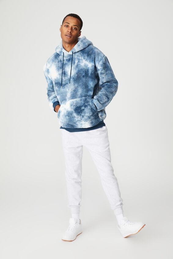 Drop Shoulder Teddy Fleece Hood, BLUE ICE TIE DYE