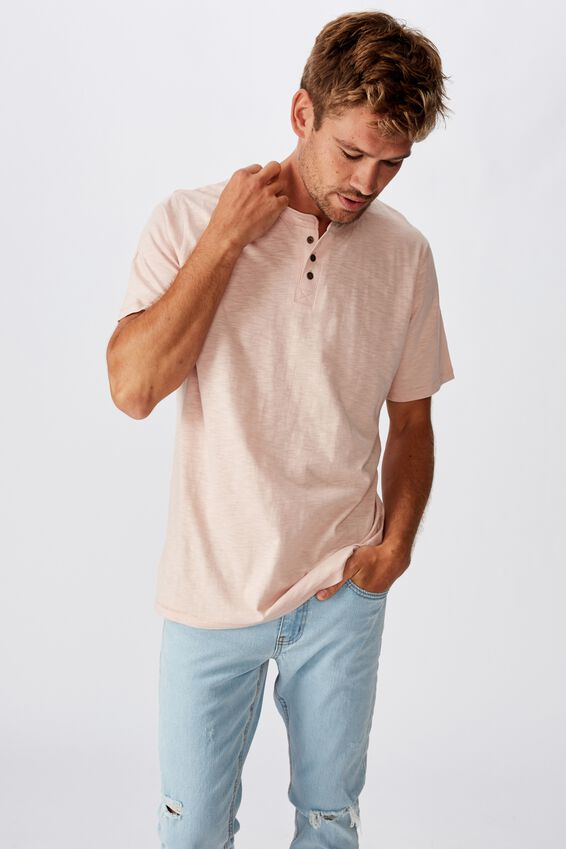 Slub Henley T-Shirt, DIRTY PINK