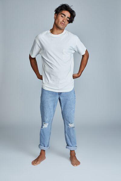 Tapered Leg Jean, LENNOX BLUE RIPS