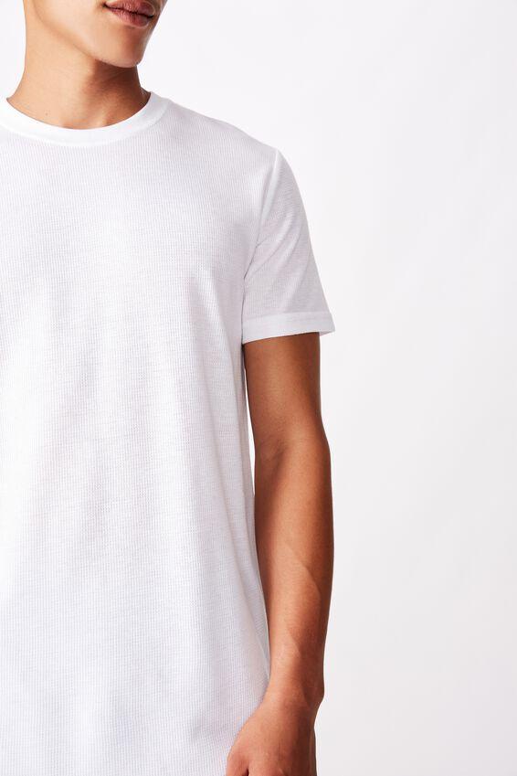 Longline Scoop Waffle T-Shirt, WHITE WAFFLE