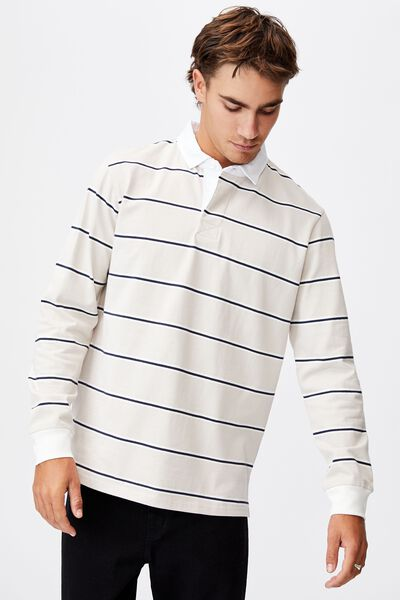 Rugby Long Sleeve Polo, SAND NAVY WHITE STRIPE