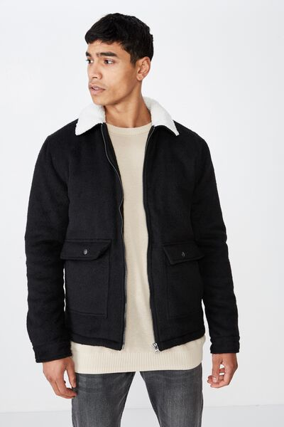 Sherpa Trucker Jacket, BLACK