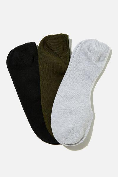 Invisible Socks 3 Pack, KHAKI/GREY MARLE/BLACK