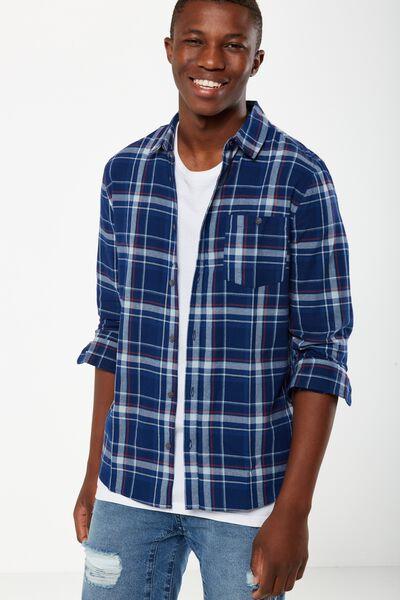 Rugged Long Sleeve Shirt, NAVY/DENIM CHECK