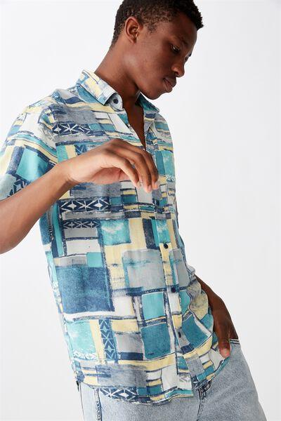 91 Short Sleeve Shirt, WHITE APRICOT TRIBAL