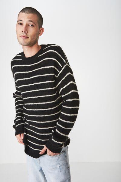 Box Crew Knit, BLACK WHITE STRIPE