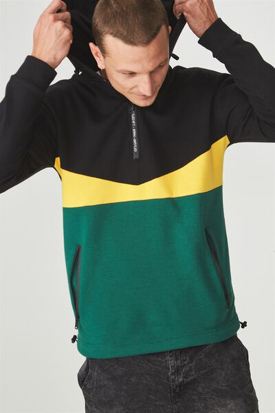 Drop Shoulder Pullover Fleece, BLACK/SAFETY YELLOW/POSY GREEN/UNTITLED NO 7