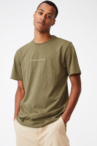 Tbar Text T-Shirt, JUNGLE KHAKI/INTERNET FAMOUS