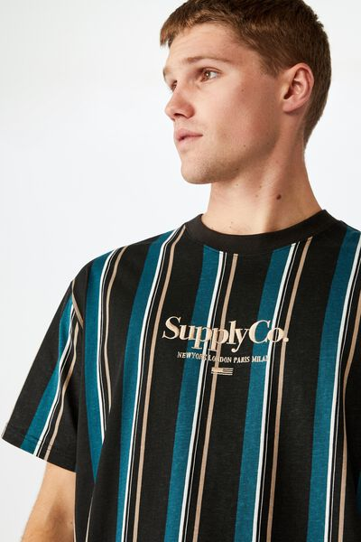 Downtown Loose Fit Tee, WASHED BLACK SUPPLY CO. OVERSIZED STRIPE