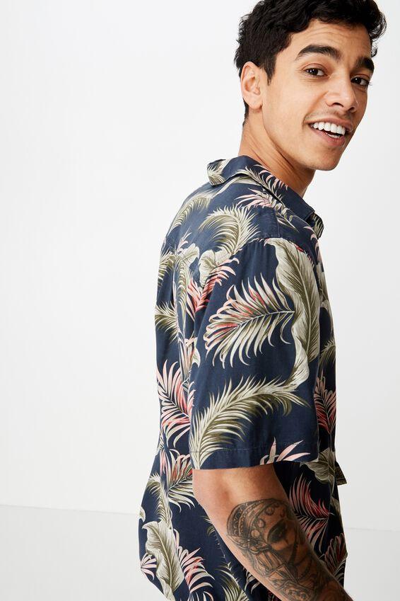 Short Sleeve Resort Shirt, NAVY OVERSIZED FLORAL